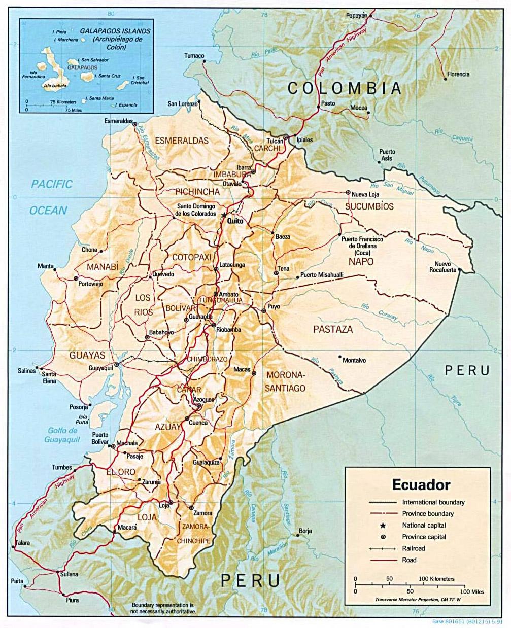 Geografische Karte von Ecuador