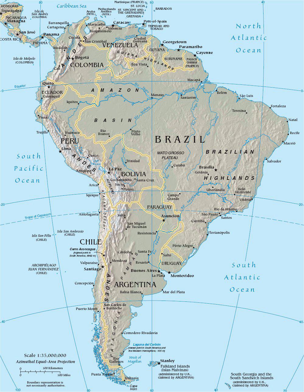 Geografische Karte von Südamerika. Ecuador liegt im Nordwesten des Kontinents an der Pazifikküste .