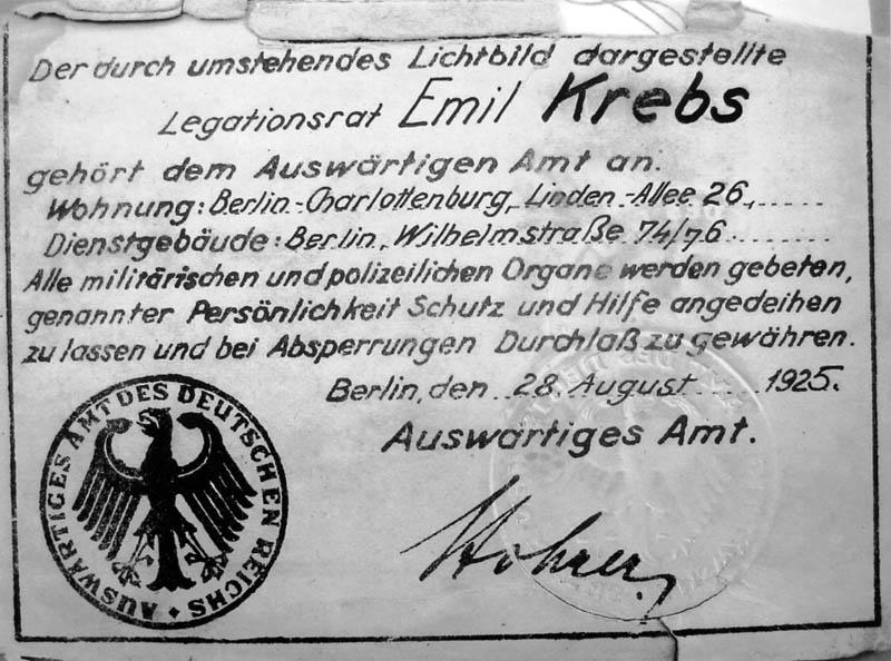 Krebs' Diplomatenausweis des Auswärtigen Amtes, Berlin 1925