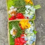 Kleine Opfergabe am Wegesrand bestehend aus Blumen, Weihrauch und Wasser, was für die drei Erscheinungsformen des einen Gottes, an den die Balinesen glauben, steht.